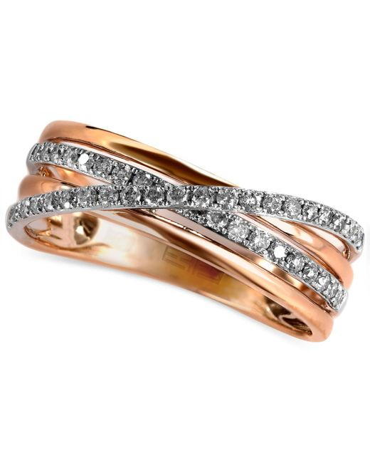 Effy Collection | Metallic Diamond Pave Crossover Ring (1/4 Ct. T.w.) In 14k Rose Gold | Lyst