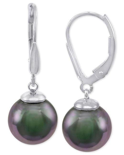 Majorica - Metallic Sterling Silver Black Imitation Pearl (10mm) Drop Earrings - Lyst