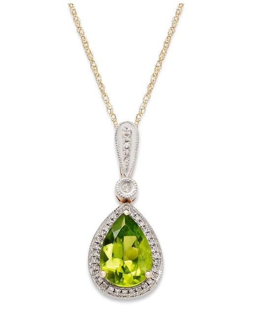 Macy's - Metallic 14k Gold Necklace, Peridot (1-3/4 Ct. T.w.) And Diamond Accent Pear-cut Pendant - Lyst