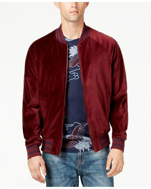 American Rag   Red Men's Velvet Varsity Bomber Jacket for Men   Lyst