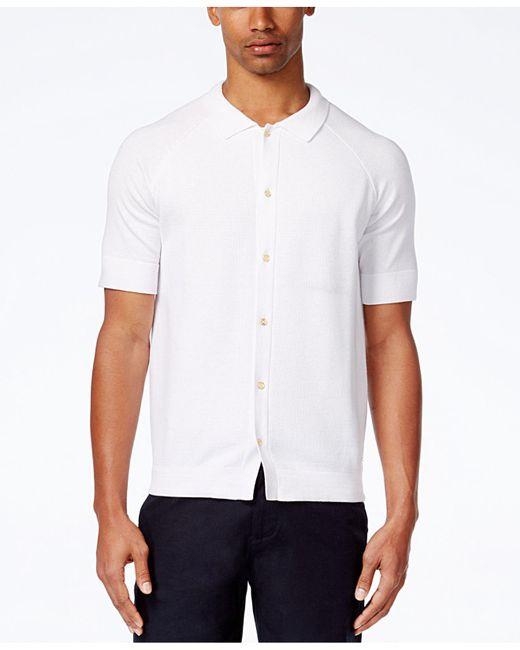 Sean John | White Men's Short-sleeve Button-front Cotton Sweater for Men | Lyst