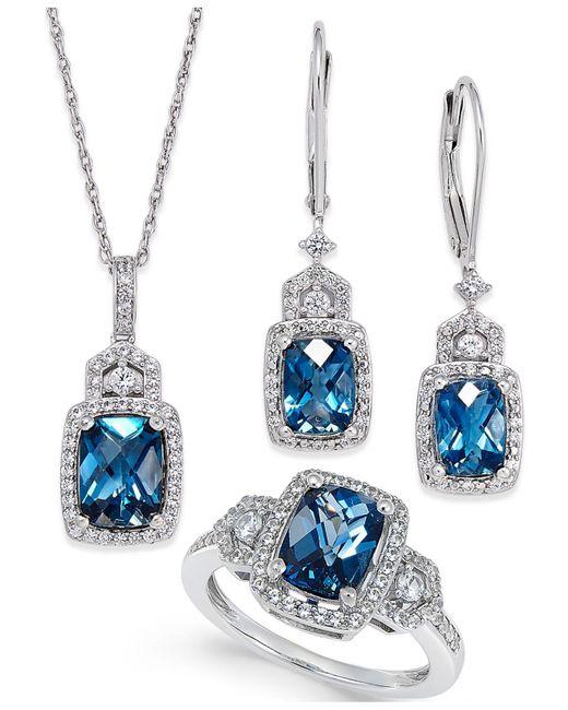 Macy's - Metallic London Blue Topaz (4-3/5 Ct. T.w.) And White Topaz (7/8 Ct. T.w.) Jewelry Set In Sterling Silver - Lyst