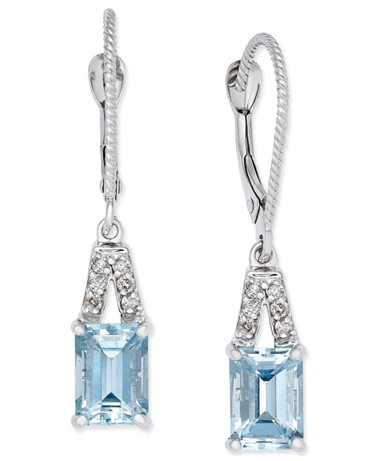 Macy's | Multicolor Aquamarine (2 Ct. T.w.) & Diamond (1/10 Ct. T.w.) Drop Earrings In 14k White Gold | Lyst