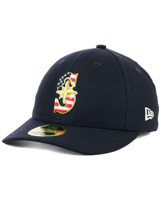 hot sale online 4ad60 04d80 ... KTZ - Blue Seattle Mariners Stars And Stripes Low Profile 59fifty  Fitted Cap 2018 for Men ...