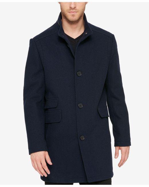 Kenneth Cole   Blue Men's Textured Car Coat for Men   Lyst