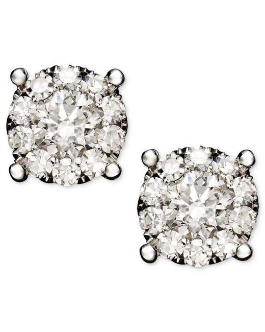 Macy's - Diamond Circle Stud Earrings In 14k White Gold (3/4 Ct. T.w.) - Lyst