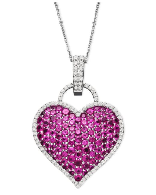 Macy's - Purple 14k White Gold Necklace, Ruby (6-1/2 Ct. T.w.) And Diamond (1/2 Ct. T.w.) Pave Heart Pendant - Lyst