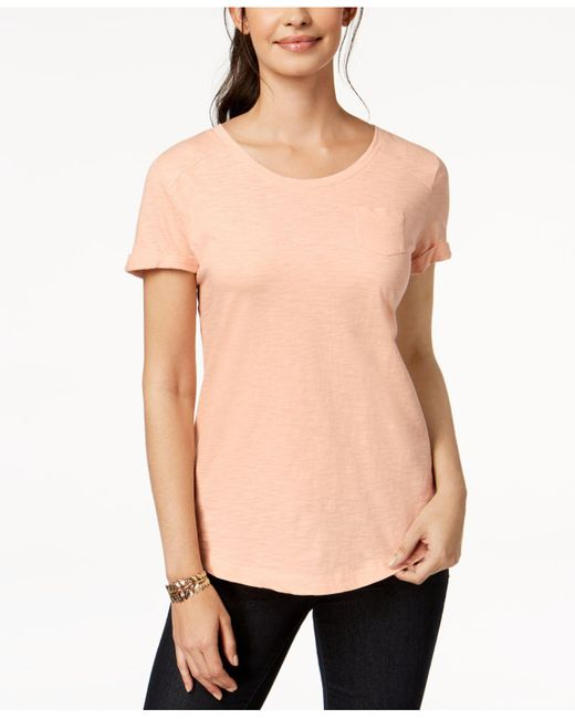 Style & Co. Multicolor Cuffed-sleeve Cotton T-shirt