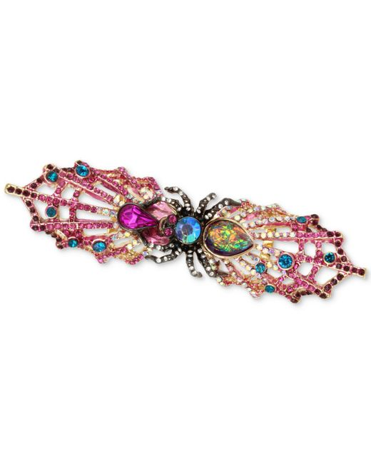 Betsey Johnson | Multicolor Two-tone Multi-stone Spider & Web Double Finger Ring | Lyst