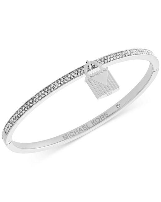 Michael Kors | Metallic Gold-tone Pavé Padlock Bangle Bracelet | Lyst