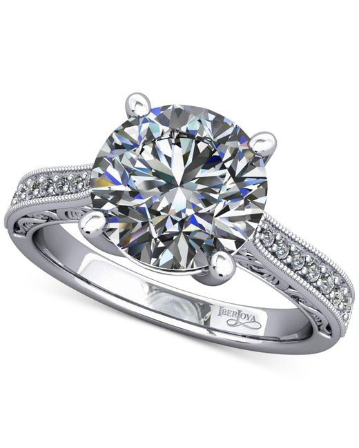 Macy's | Diamond Artisan Solitaire Mount Setting With Filigree (1/6 Ct. T.w.) In 14k White Gold | Lyst