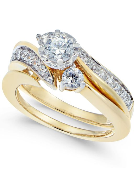 Macy's   Metallic Diamond Swirl Bridal Set (1 Ct. T.w.) In 14k White Gold   Lyst
