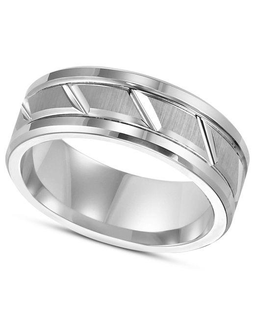 Triton | Metallic Men's White Tungsten Carbide Ring, 8mm Diamond-cut Wedding Band for Men | Lyst