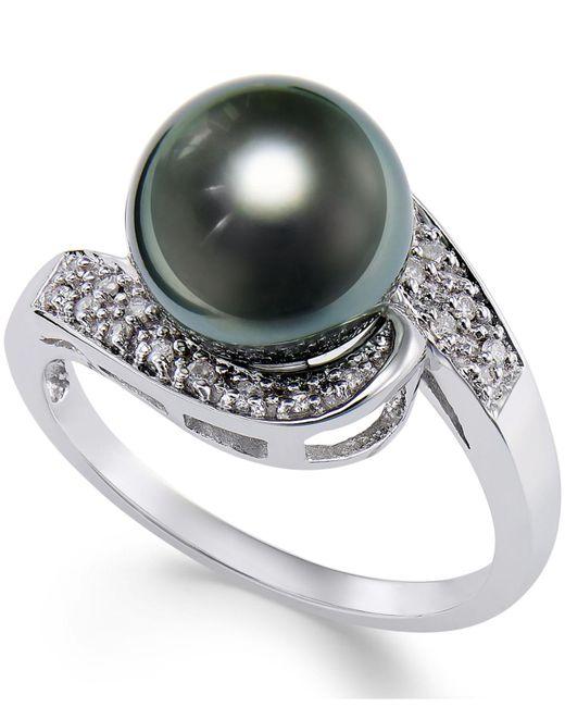 Macy's - Metallic Cultured Tahitian Black Pearl (9mm) And Diamond (1/10ct. T.w.) Swirl Ring In 14k White Gold - Lyst