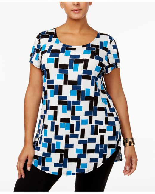 Alfani | Blue Plus Size Printed T-shirt | Lyst