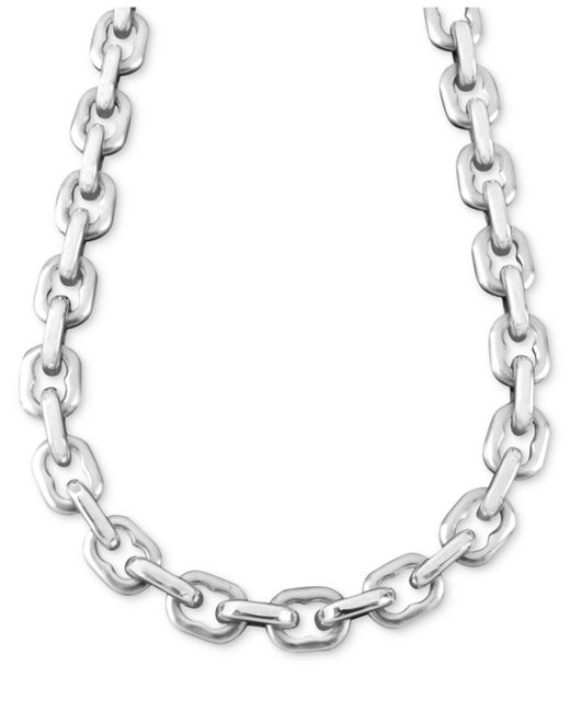 "Macy's | Metallic Men's Stainless Steel Necklace, 24"" Anchor Link for Men 