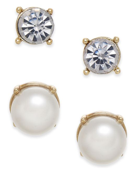 Charter Club - Metallic Gold-tone Colored Imitation Pearl 2-pc. Set Stud Earrings, Created For Macy's - Lyst