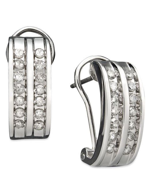 Macy's - Metallic Two-row Diamond Channel-set Hoop Earrings In 14k White Gold (3/8 Ct. T.w.) - Lyst