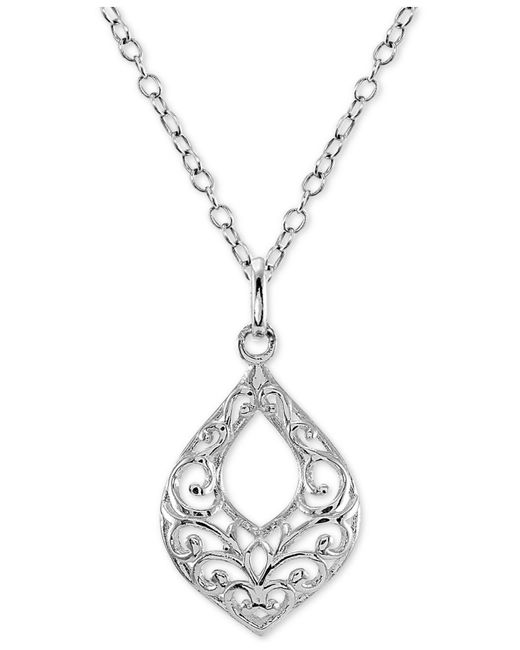 """Giani Bernini - Metallic Filigree 18"""" Pendant Necklace In Sterling Silver, Created For Macy's - Lyst"""