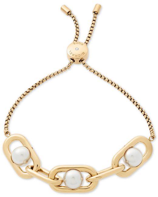 Michael Kors | Metallic Gold-tone Imitation Pearl Large Link Slider Bracelet | Lyst