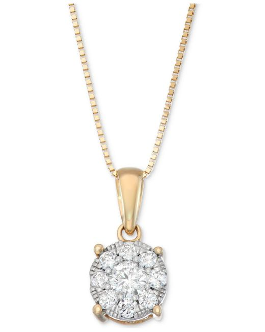 Macy's - Metallic Diamond Unity Pendant Necklace (1/3 Ct. T.w.) In 14k Gold, White Gold Or Rose Gold - Lyst