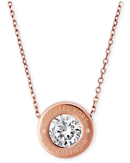 Michael Kors - Metallic Bezel Set Crystal Logo Pendant Necklace - Lyst