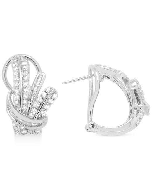 Wrapped in Love - Metallic Diamond Fancy Hoop Earrings (1 Ct. T.w.) In Sterling Silver - Lyst