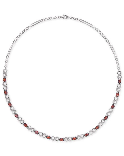Macy's - Metallic Rhodolite Garnet (7-1/2 Ct. T.w.) & Diamond Accent Infinity Collar Necklace In Sterling Silver - Lyst
