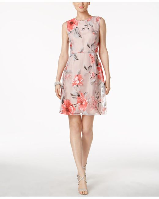 Ivanka Trump | Pink Floral-overlay Fit & Flare Dress | Lyst