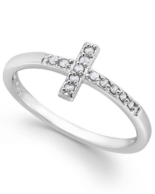 Macy's - Metallic Diamond Cross Ring In Sterling Silver (1/10 Ct. T.w.) - Lyst