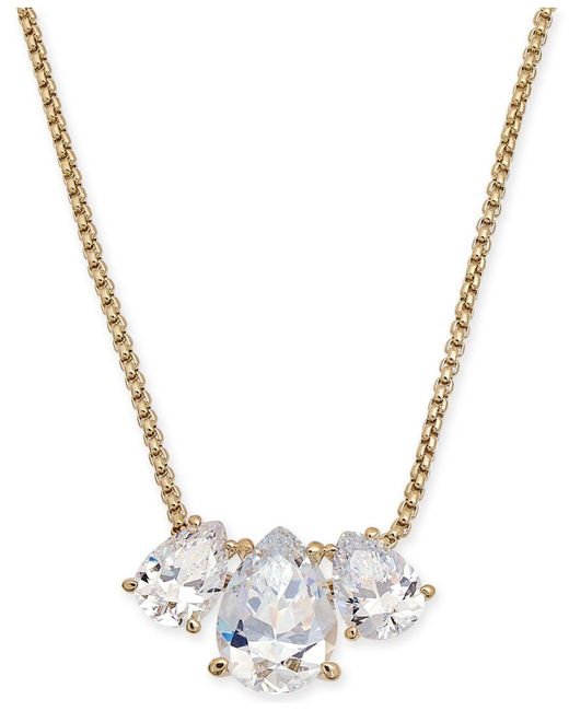 "Danori - Metallic Triple-crystal Pendant Necklace, 16"" + 1"" Extender, Created For Macy's - Lyst"