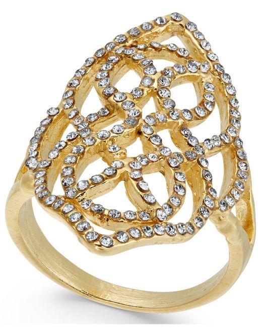 INC International Concepts | Metallic Gold-tone Pavé Statement Ring | Lyst