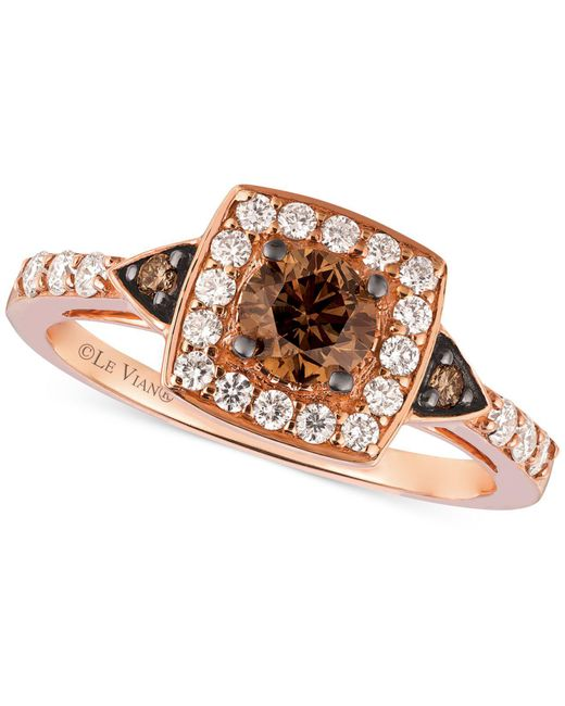 Le Vian - Red Chocolate Diamond And White Diamond Ring In 14k Rose Gold (7/8 Ct. T.w.) - Lyst
