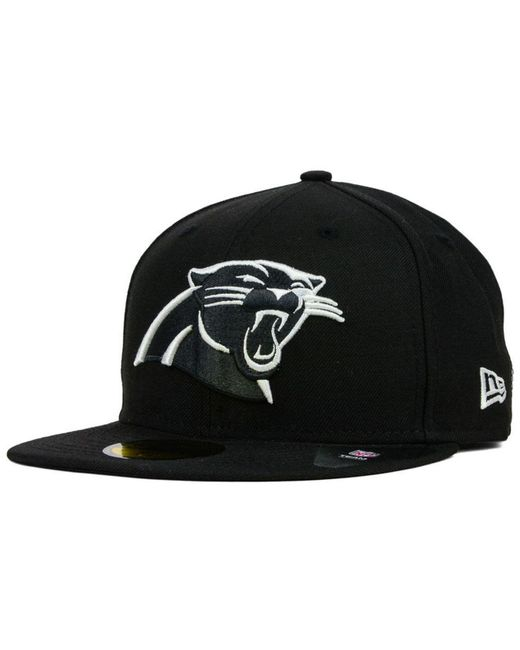 new arrival f07b6 a1111 KTZ - Carolina Panthers Black And White 59fifty Fitted Cap for Men - Lyst  ...