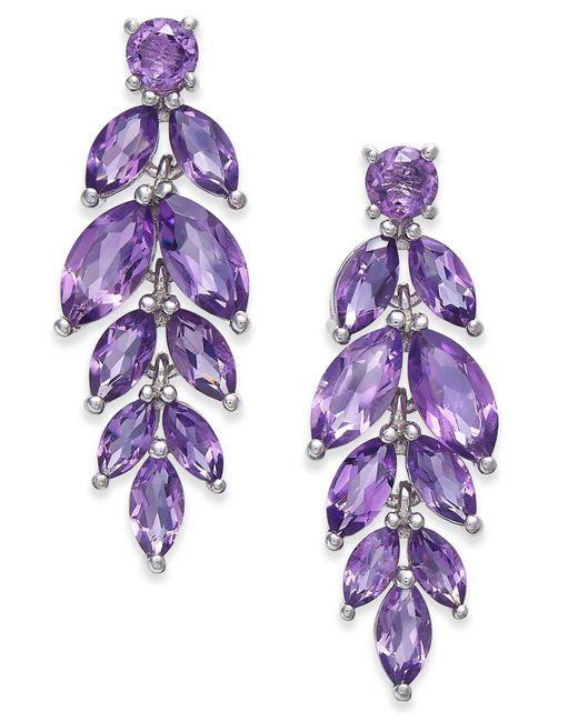Macy's - Purple Amethyst Vine Drop Earrings (5-3/4 Ct. T.w.) In Sterling Silver (also Available In Garnet, Peridot, & Blue Topaz) - Lyst