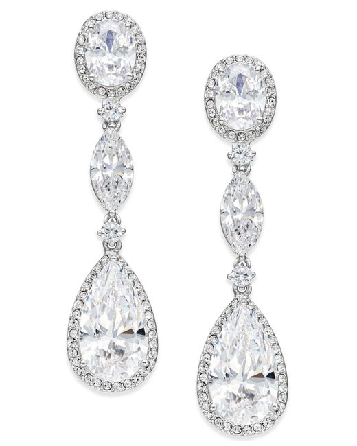 Danori - Metallic Silver-tone Oval Crystal Drop Earrings - Lyst