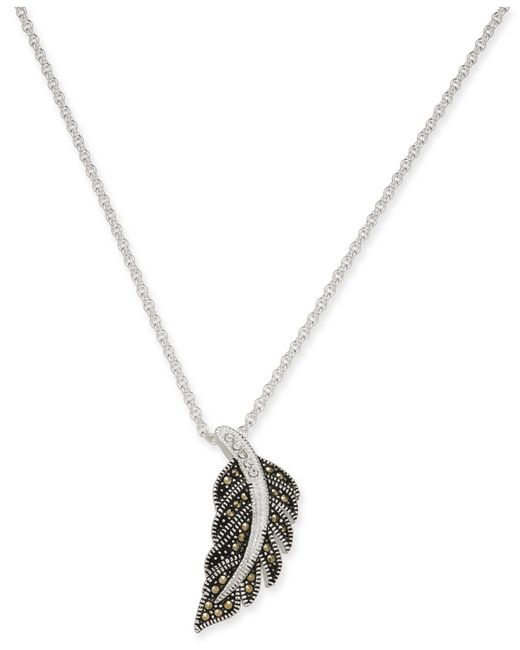 """Macy's - Metallic Marcasite & Crystal Feather 18"""" Pendant Necklace In Fine Silver-plate - Lyst"""