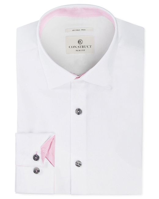 Con.struct - Multicolor Slim-fit Stretch White Twill Dress Shirt for Men - Lyst
