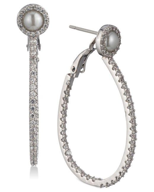Carolee - White Silver-tone Pavé & Imitation Pearl Drop Hoop Earrings - Lyst