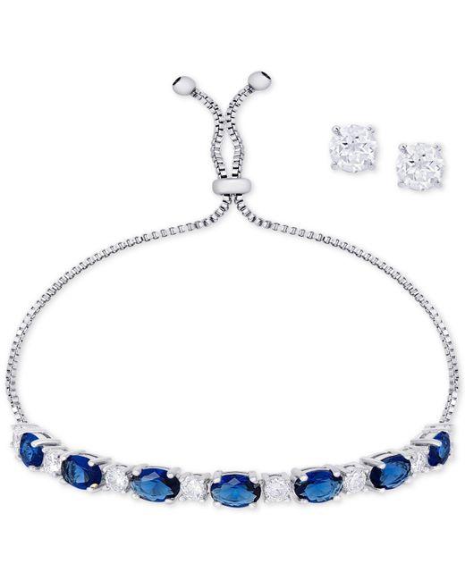 Macy's - Metallic Simulated Sapphire Slider Bracelet & Cubic Zirconia Stud Earrings Set In Fine Silver-plate, September Birthstone - Lyst