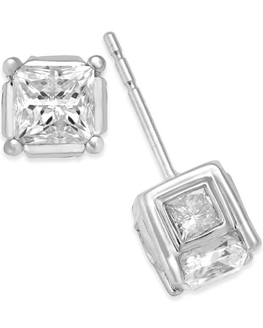 Macy's - Metallic Diamond (2 Ct. T.w.) Stud Earrings In 14k Yellow Or White Gold - Lyst