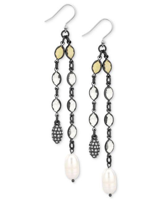 Lucky Brand | Metallic Hematite-tone Multi-crystal & Imitation Pearl Linear Drop Earrings | Lyst