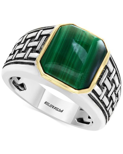 Effy Collection | Metallic Men's Malachite (13 X 11mm) Ring In Sterling Silver And 14k Gold for Men | Lyst