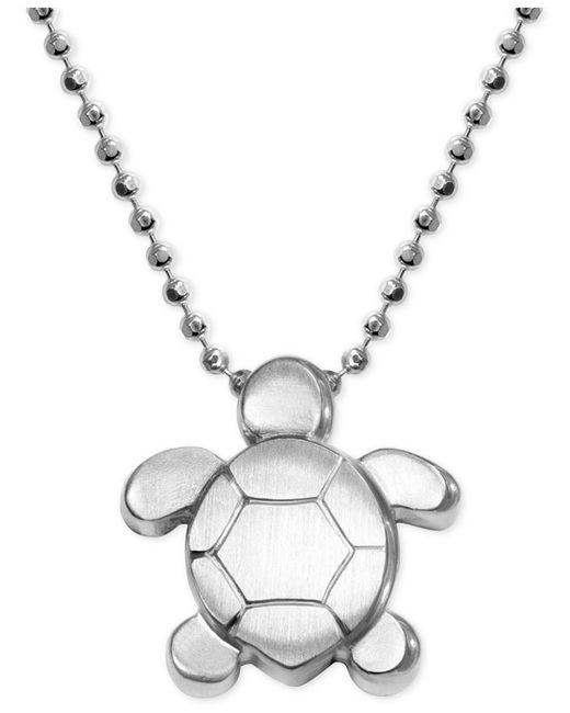 Alex Woo - Metallic Turtle Pendant Necklace In Sterling Silver - Lyst