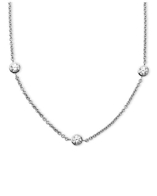 Arabella - Metallic Sterling Silver Necklace, White Round-cut Swarovski Zirconia 7-station Necklace (3-1/6 Ct. T.w.) - Lyst