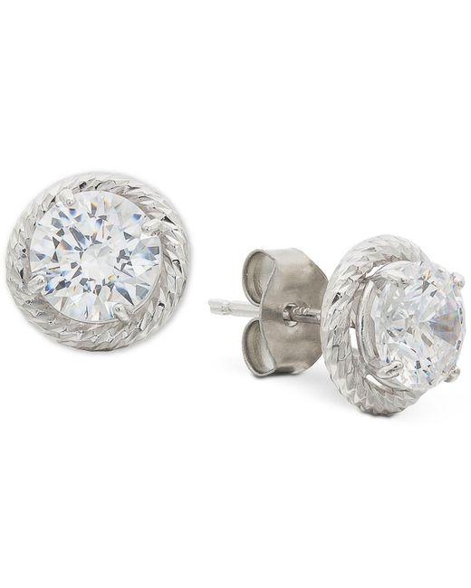 Giani Bernini - Metallic Cubic Zirconia Rope-framed Stud Earrings In Sterling Silver, Created For Macy's - Lyst