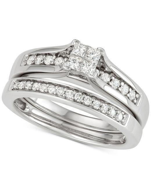 Macy's - Multicolor Diamond Princess Bridal Set (1/2 Ct. T.w.) In 14k White Gold - Lyst