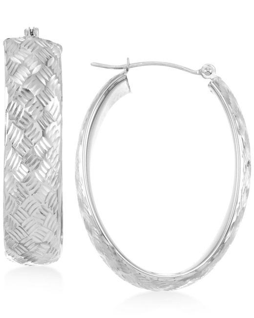 Macy's | White Wide Textured Oval Hoop Earrings In 14k Gold | Lyst