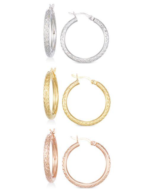 Macy's - Pink Set Of Three Textured Hoop Earrings In 14k Tri-gold Vermeil - Lyst
