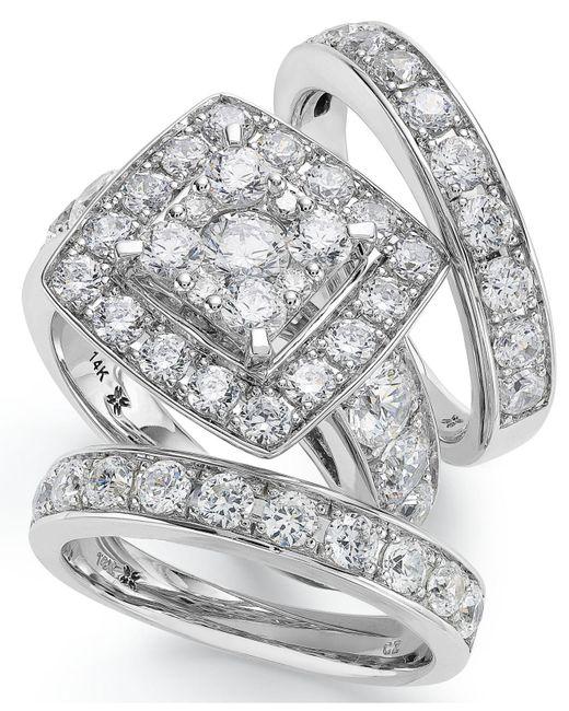 Macy's - Metallic 14k White Gold Diamond Bridal Ring Set (4 Ct. T.w.) - Lyst